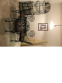 TABLE, CHAIRS AND BAKERS/WINE RACK BOMBAY COMPANY